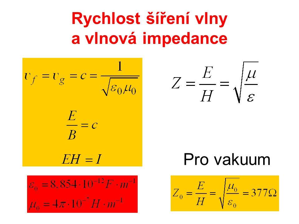 Rychlost šíření vlny a vlnová impedance Pro vakuum