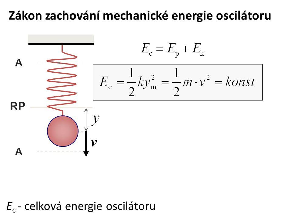 Zákon zachování mechanické energie oscilátoru E c - celková energie oscilátoru RP A A
