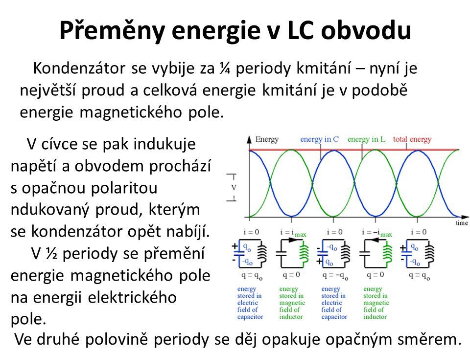 Přeměny energie v LC obvodu Kondenzátor se vybije za ¼ periody kmitání – nyní je největší proud a celková energie kmitání je v podobě energie magnetic