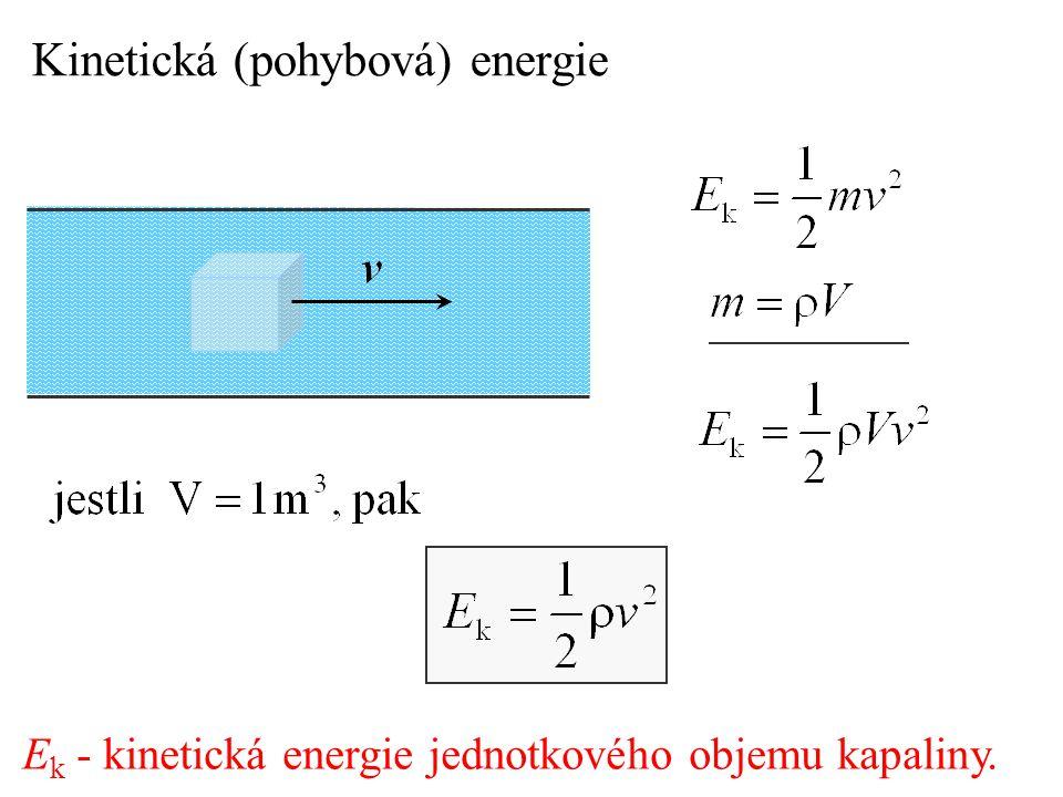 E k - kinetická energie jednotkového objemu kapaliny. Kinetická (pohybová) energie