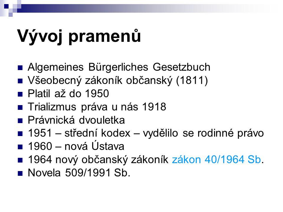 Vývoj pramenů Algemeines Bürgerliches Gesetzbuch Všeobecný zákoník občanský (1811) Platil až do 1950 Trializmus práva u nás 1918 Právnická dvouletka 1