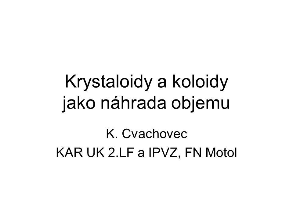 Krystaloidy a koloidy jako náhrada objemu K. Cvachovec KAR UK 2.LF a IPVZ, FN Motol
