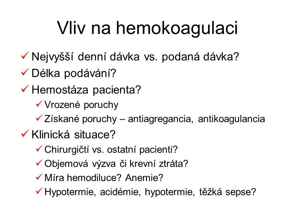 Vliv na hemokoagulaci Nejvyšší denní dávka vs. podaná dávka? Délka podávání? Hemostáza pacienta? Vrozené poruchy Získané poruchy – antiagregancia, ant
