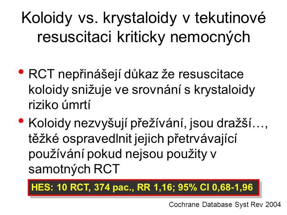 Koloidy vs. krystaloidy v tekutinové resuscitaci kriticky nemocných RCT nepřinášejí důkaz že resuscitace koloidy snižuje ve srovnání s krystaloidy riz