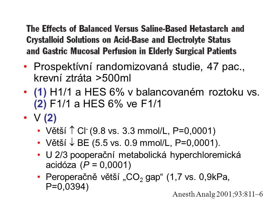Prospektívní randomizovaná studie, 47 pac., krevní ztráta >500ml (1) H1/1 a HES 6% v balancovaném roztoku vs. (2) F1/1 a HES 6% ve F1/1 V (2) Větší 