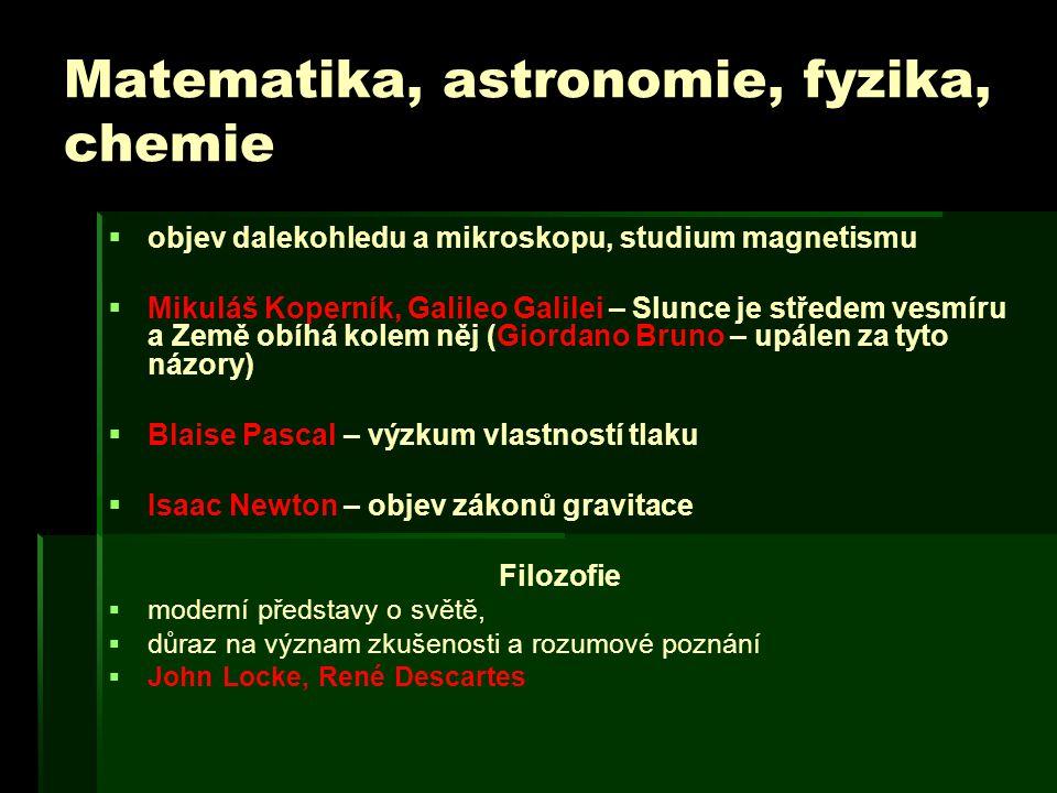 Matematika, astronomie, fyzika, chemie   objev dalekohledu a mikroskopu, studium magnetismu   Mikuláš Koperník, Galileo Galilei – Slunce je střede
