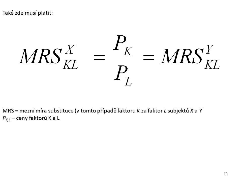 10 Také zde musí platit: MRS – mezní míra substituce (v tomto případě faktoru K za faktor L subjektů X a Y P K,L – ceny faktorů K a L