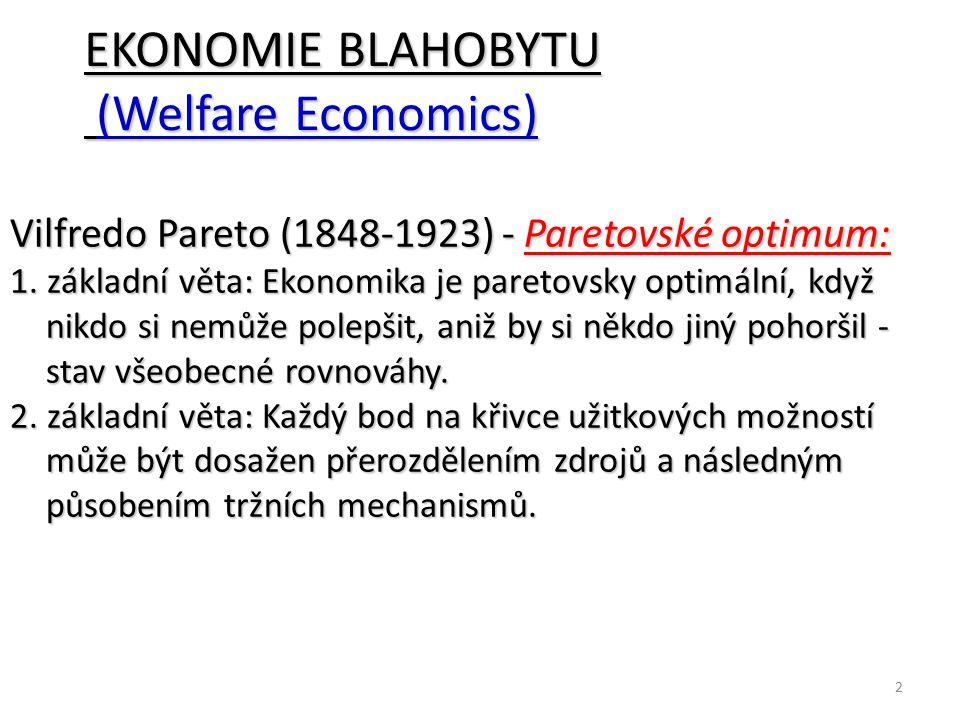2 EKONOMIE BLAHOBYTU (Welfare Economics) (Welfare Economics) Vilfredo Pareto (1848-1923) - Paretovské optimum: 1. základní věta: Ekonomika je paretovs