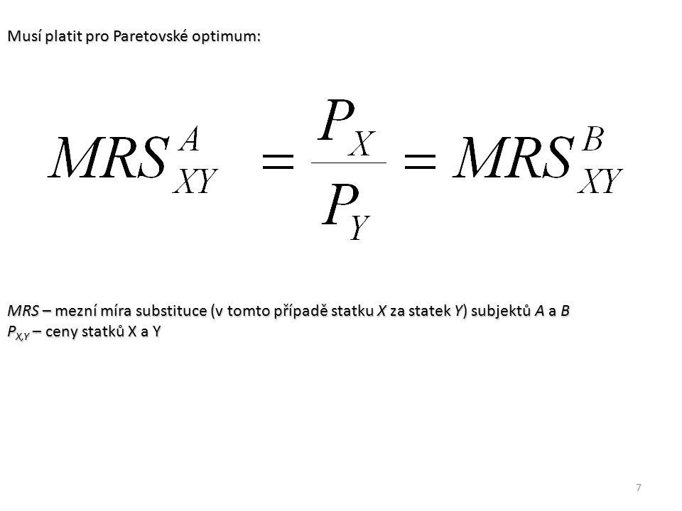 7 Musí platit pro Paretovské optimum: MRS – mezní míra substituce (v tomto případě statku X za statek Y) subjektů A a B P X,Y – ceny statků X a Y