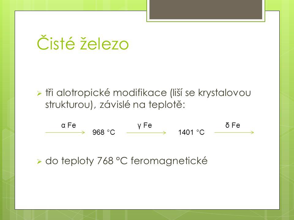 Čisté železo  tři alotropické modifikace (liší se krystalovou strukturou), závislé na teplotě:  do teploty 768 °C feromagnetické 968 °C1401 °C γ Feα Feδ Fe