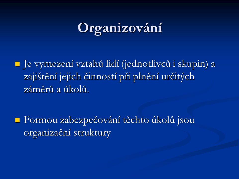 Organizování Je vymezení vztahů lidí (jednotlivců i skupin) a zajištění jejich činností při plnění určitých záměrů a úkolů. Je vymezení vztahů lidí (j