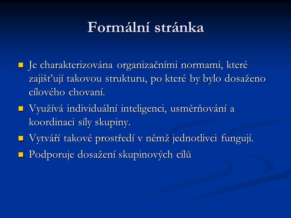 Formální stránka Je charakterizována organizačními normami, které zajišťují takovou strukturu, po které by bylo dosaženo cílového chovaní. Je charakte