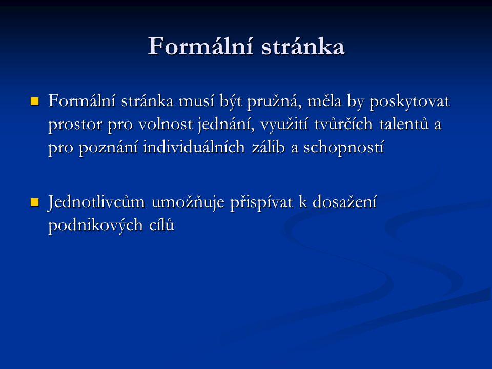 Formální stránka Formální stránka musí být pružná, měla by poskytovat prostor pro volnost jednání, využití tvůrčích talentů a pro poznání individuální