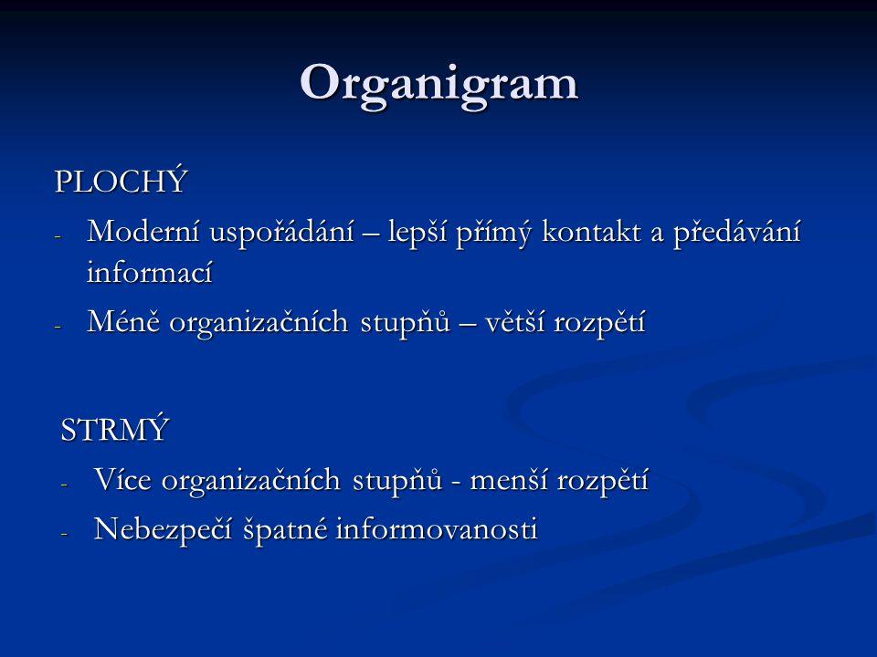 Organigram PLOCHÝ - Moderní uspořádání – lepší přímý kontakt a předávání informací - Méně organizačních stupňů – větší rozpětí STRMÝ - Více organizačn
