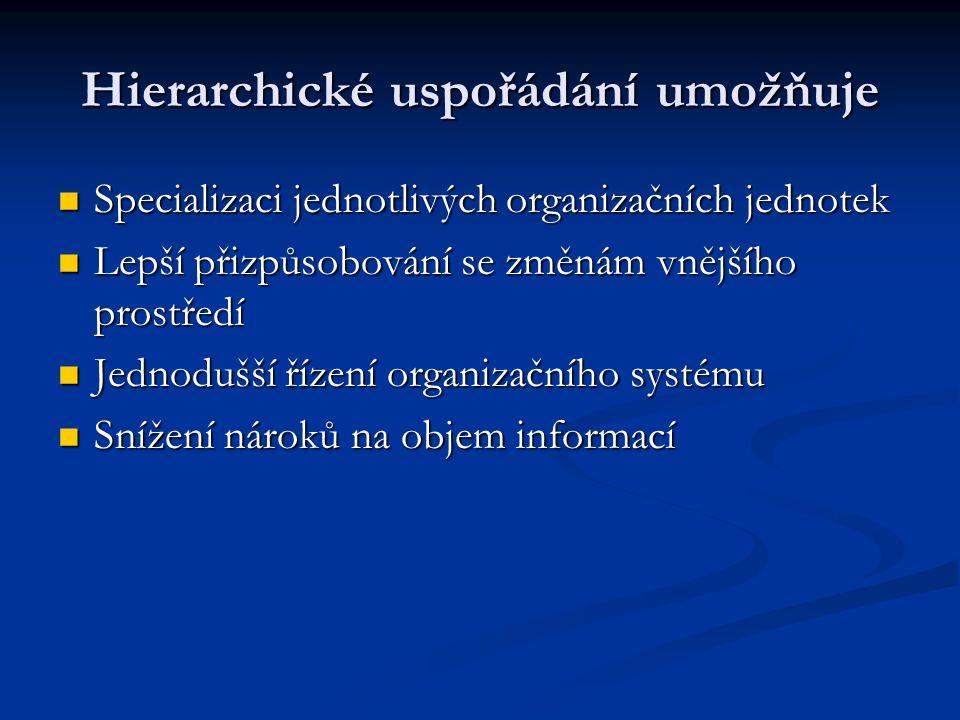 Hierarchické uspořádání umožňuje Specializaci jednotlivých organizačních jednotek Specializaci jednotlivých organizačních jednotek Lepší přizpůsobován
