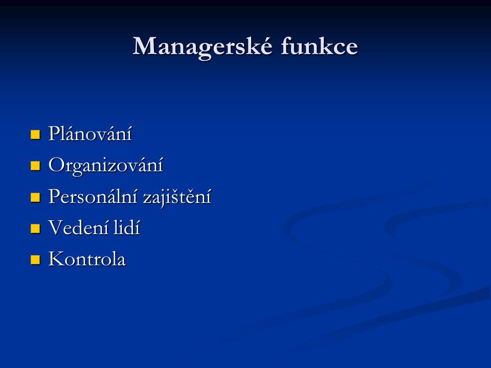 Managerské funkce Plánování Plánování Organizování Organizování Personální zajištění Personální zajištění Vedení lidí Vedení lidí Kontrola Kontrola