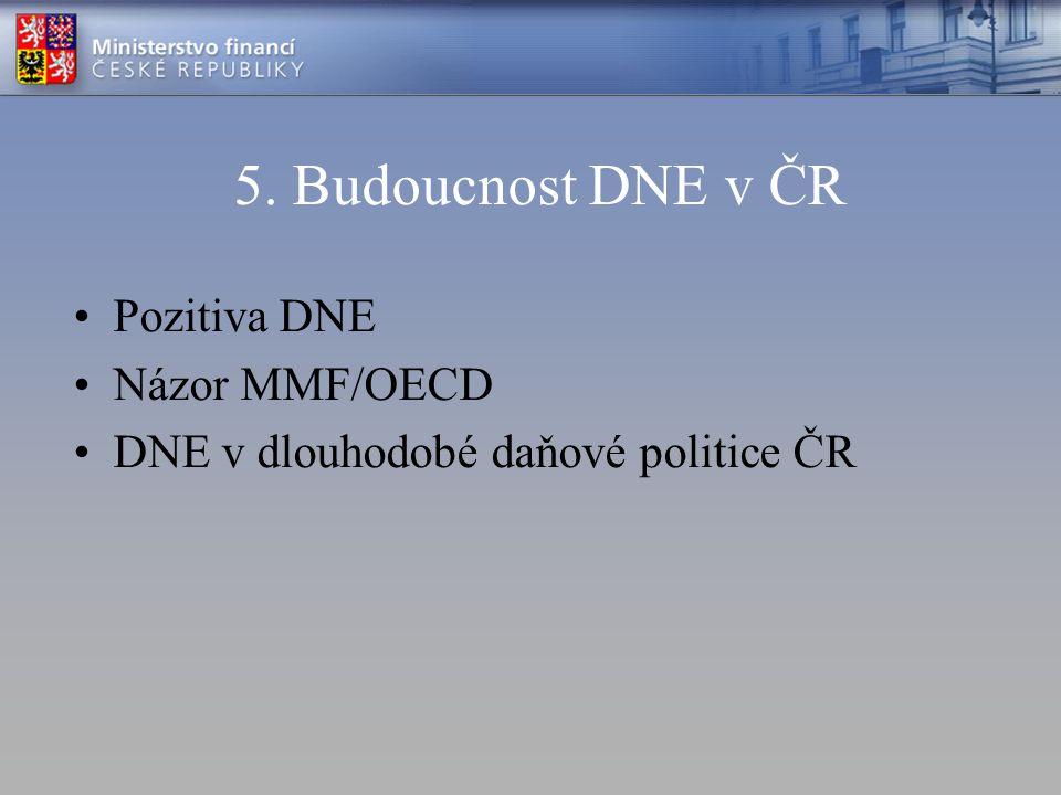 5. Budoucnost DNE v ČR Pozitiva DNE Názor MMF/OECD DNE v dlouhodobé daňové politice ČR