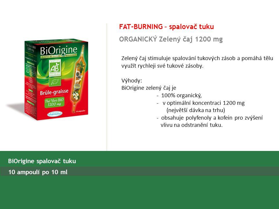 FAT-BURNING – spalovač tuku ORGANICKÝ Zelený čaj 1200 mg BiOrigine spalovač tuku 10 ampoulí po 10 ml Zelený čaj stimuluje spalování tukových zásob a pomáhá tělu využít rychleji své tukové zásoby.