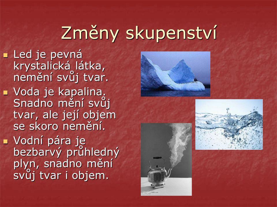 Změny skupenství Led je pevná krystalická látka, nemění svůj tvar. Voda je kapalina. Snadno mění svůj tvar, ale její objem se skoro nemění. Vodní pára