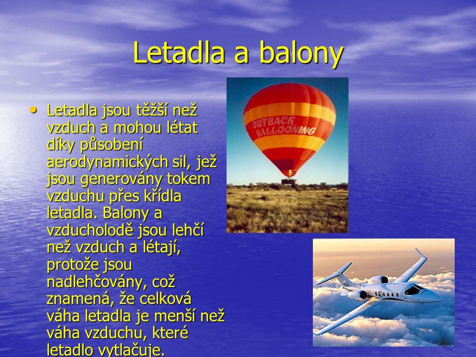 Letadla a balony Letadla jsou těžší než vzduch a mohou létat díky působení aerodynamických sil, jež jsou generovány tokem vzduchu přes křídla letadla.