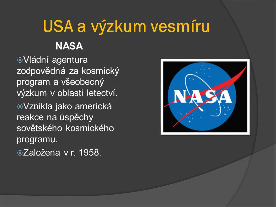 USA a výzkum vesmíru NASA  Vládní agentura zodpovědná za kosmický program a všeobecný výzkum v oblasti letectví.