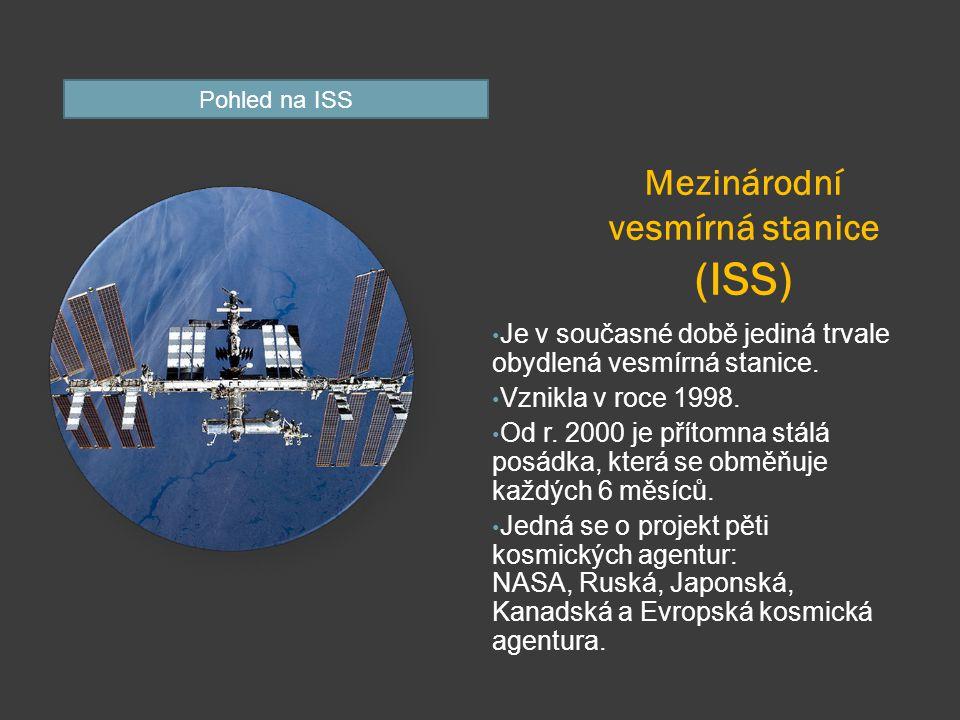 Mezinárodní vesmírná stanice (ISS) Je v současné době jediná trvale obydlená vesmírná stanice.