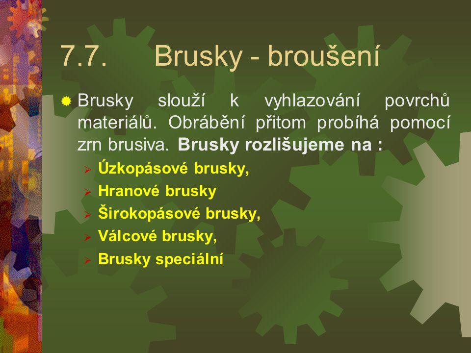 Hranová bruska VVykružování se brousí s použitím opěrky odpovídajícího tvaru a vodící kladky.