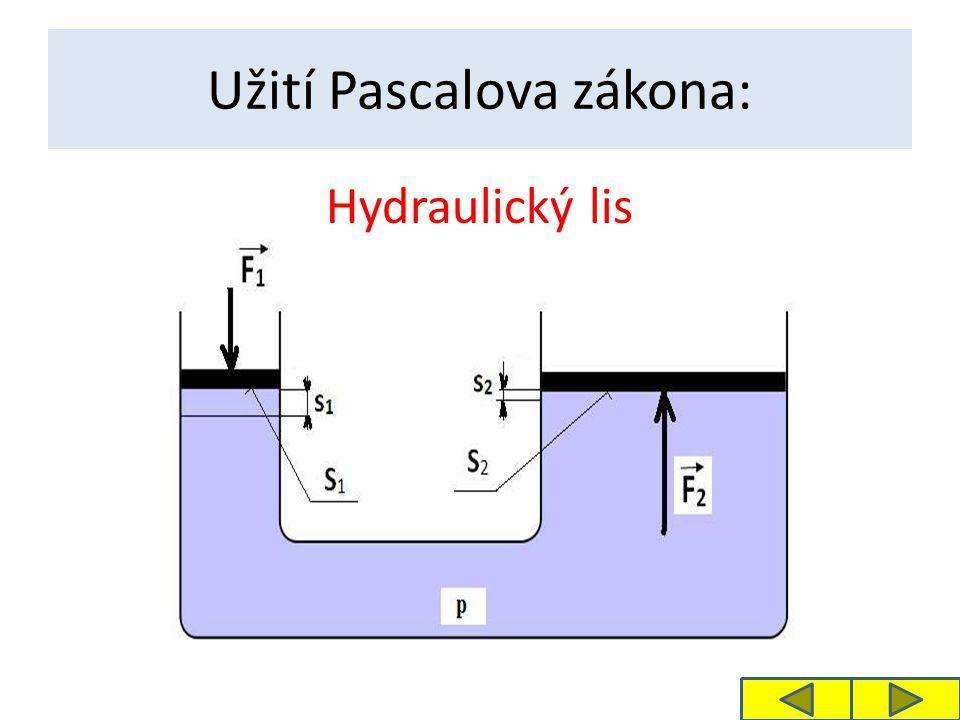 Užití Pascalova zákona: Hydraulický lis