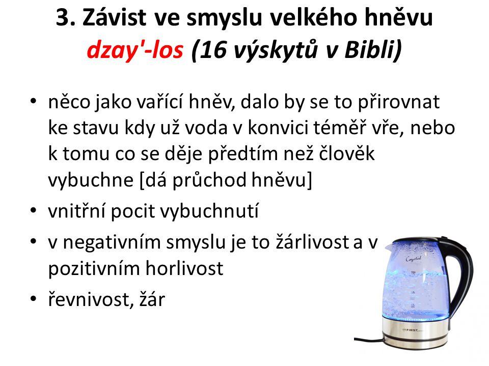 3. Závist ve smyslu velkého hněvu dzay'-los (16 výskytů v Bibli) něco jako vařící hněv, dalo by se to přirovnat ke stavu kdy už voda v konvici téměř v