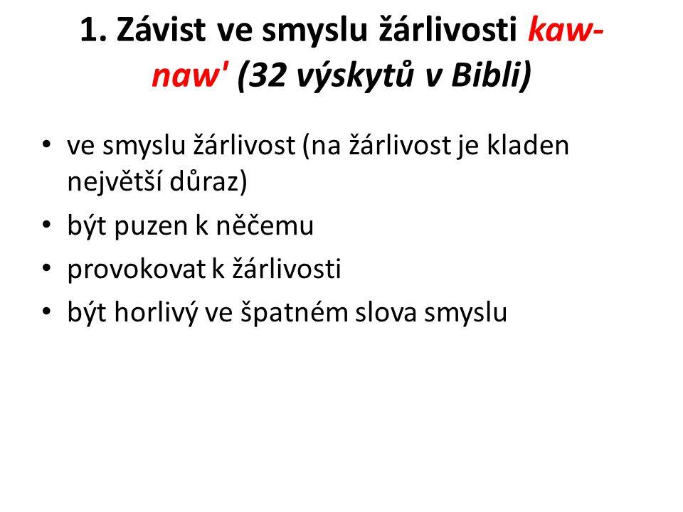 1. Závist ve smyslu žárlivosti kaw- naw' (32 výskytů v Bibli) ve smyslu žárlivost (na žárlivost je kladen největší důraz) být puzen k něčemu provokova