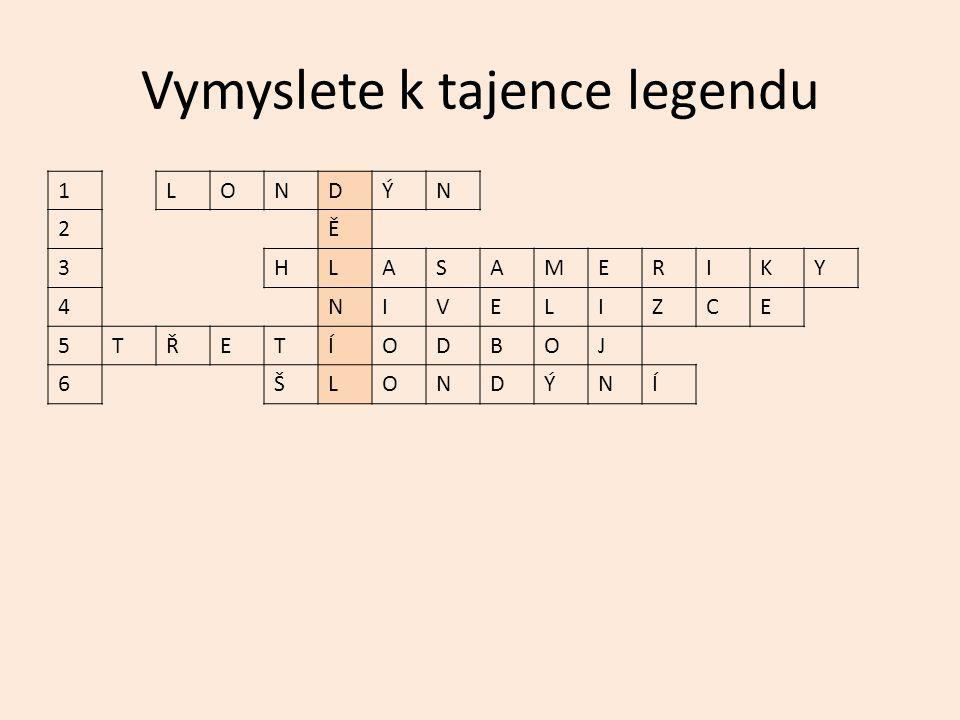Vymyslete k tajence legendu 1LONDÝN 2Ě 3HLASAMERIKY 4NIVELIZCE 5TŘETÍODBOJ 6ŠLONDÝNÍ