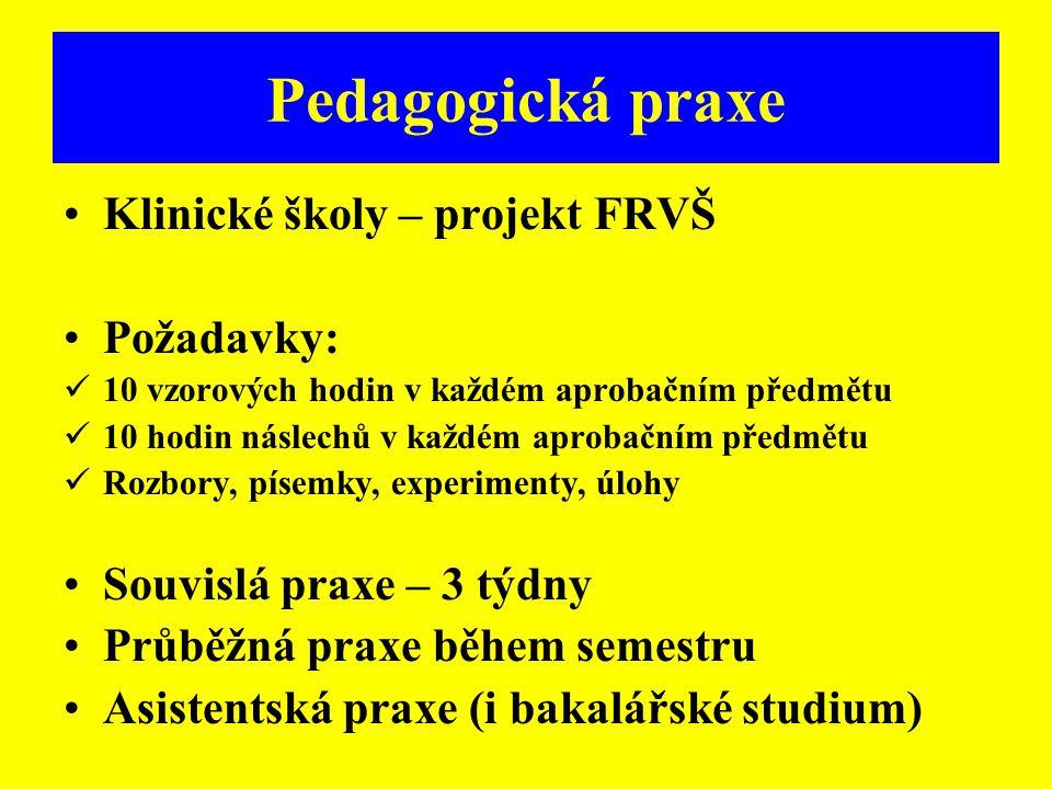 Pedagogická praxe Klinické školy – projekt FRVŠ Požadavky: 10 vzorových hodin v každém aprobačním předmětu 10 hodin náslechů v každém aprobačním předm