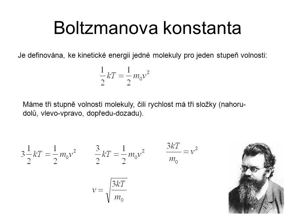 Boltzmanova konstanta Je definována, ke kinetické energii jedné molekuly pro jeden stupeň volnosti: Máme tři stupně volnosti molekuly, čili rychlost m