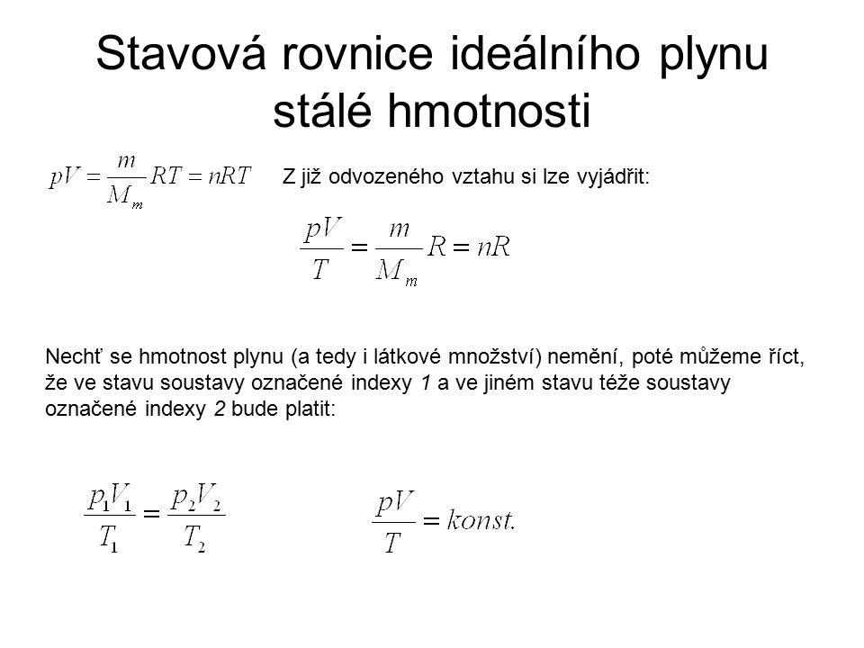 Stavová rovnice ideálního plynu stálé hmotnosti Z již odvozeného vztahu si lze vyjádřit: Nechť se hmotnost plynu (a tedy i látkové množství) nemění, p