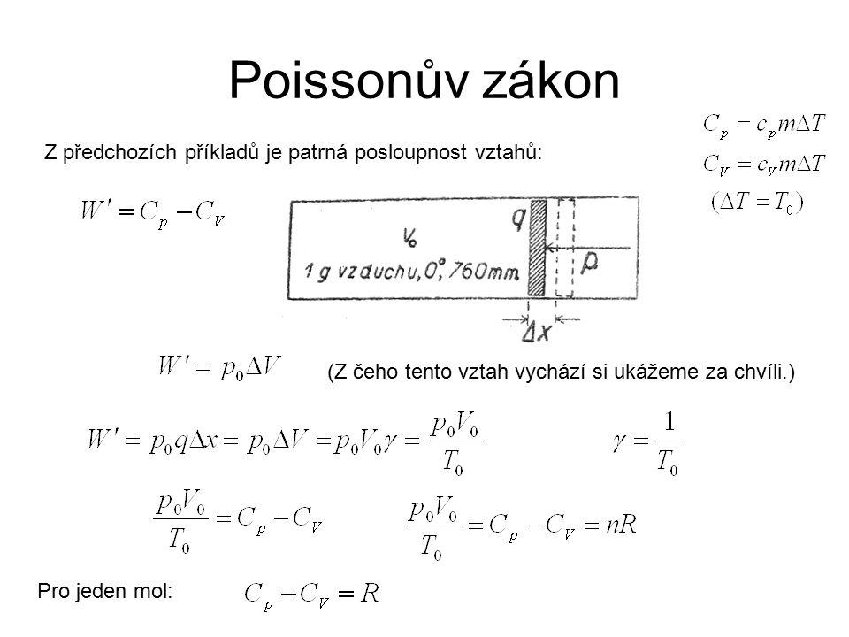 Poissonův zákon Z předchozích příkladů je patrná posloupnost vztahů: (Z čeho tento vztah vychází si ukážeme za chvíli.) Pro jeden mol: