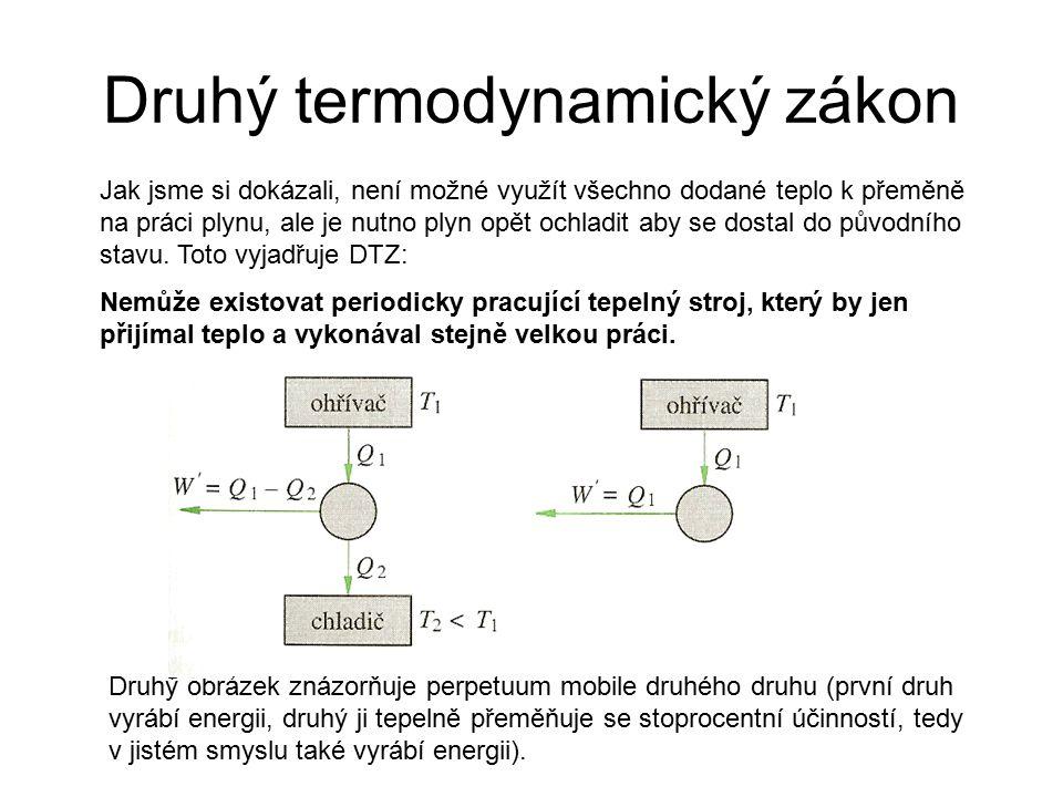 Druhý termodynamický zákon Jak jsme si dokázali, není možné využít všechno dodané teplo k přeměně na práci plynu, ale je nutno plyn opět ochladit aby