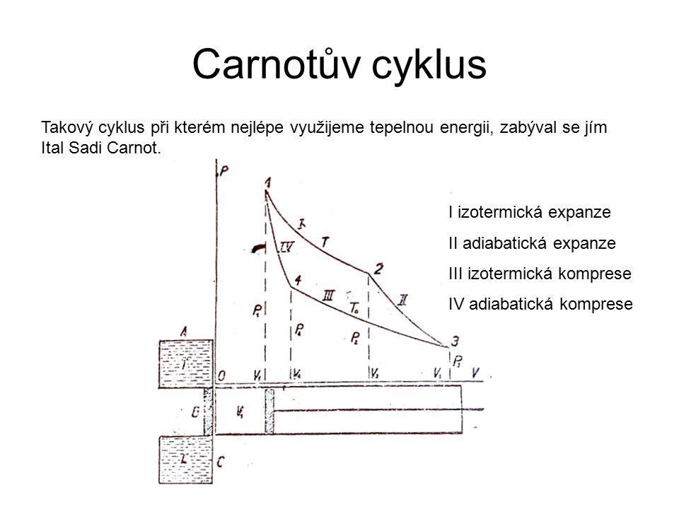 Carnotův cyklus Takový cyklus při kterém nejlépe využijeme tepelnou energii, zabýval se jím Ital Sadi Carnot. I izotermická expanze II adiabatická exp