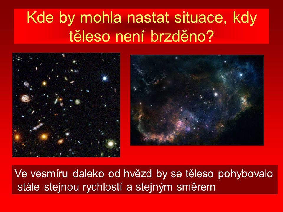 Kde by mohla nastat situace, kdy těleso není brzděno? Ve vesmíru daleko od hvězd by se těleso pohybovalo stále stejnou rychlostí a stejným směrem