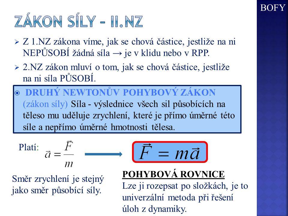  Z 1.NZ zákona víme, jak se chová částice, jestliže na ni NEPŮSOBÍ žádná síla → je v klidu nebo v RPP.  2.NZ zákon mluví o tom, jak se chová částice