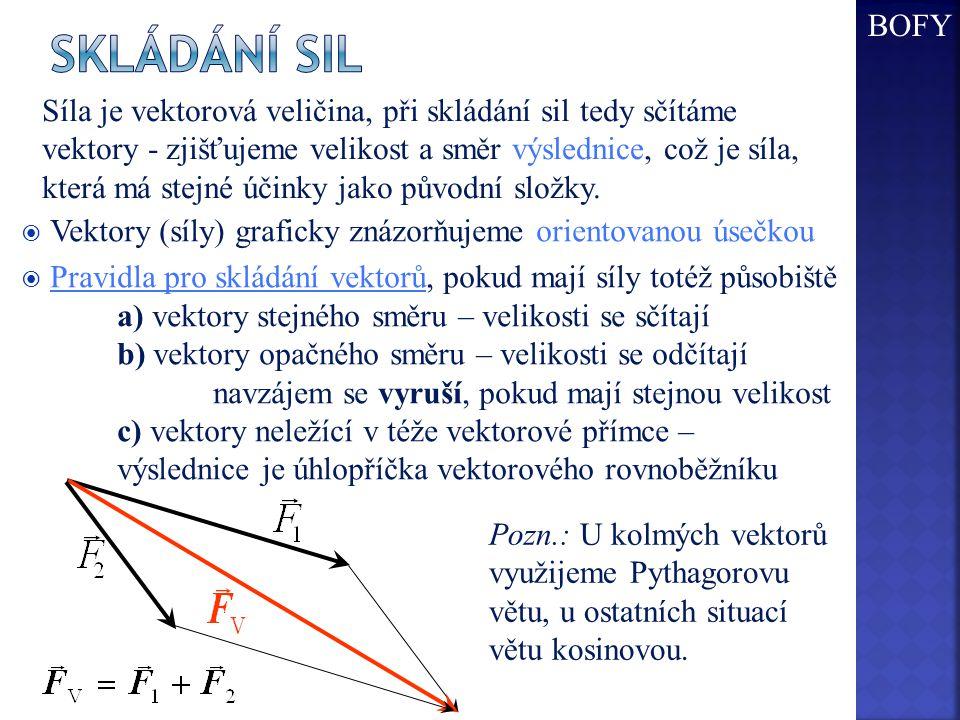  Vektory (síly) graficky znázorňujeme orientovanou úsečkou  Pravidla pro skládání vektorů, pokud mají síly totéž působiště a) vektory stejného směru