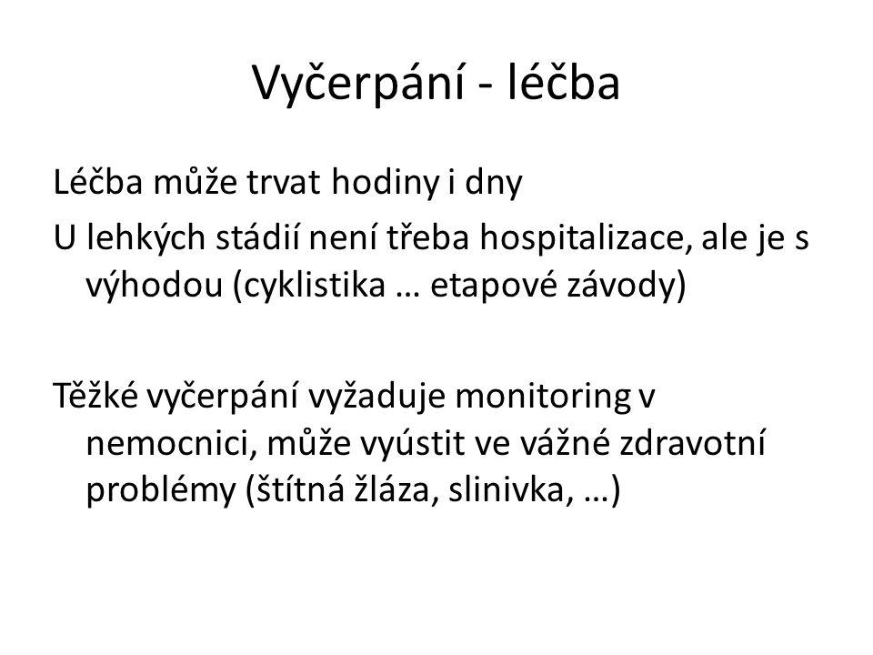 Vyčerpání - léčba Léčba může trvat hodiny i dny U lehkých stádií není třeba hospitalizace, ale je s výhodou (cyklistika … etapové závody) Těžké vyčerpání vyžaduje monitoring v nemocnici, může vyústit ve vážné zdravotní problémy (štítná žláza, slinivka, …)