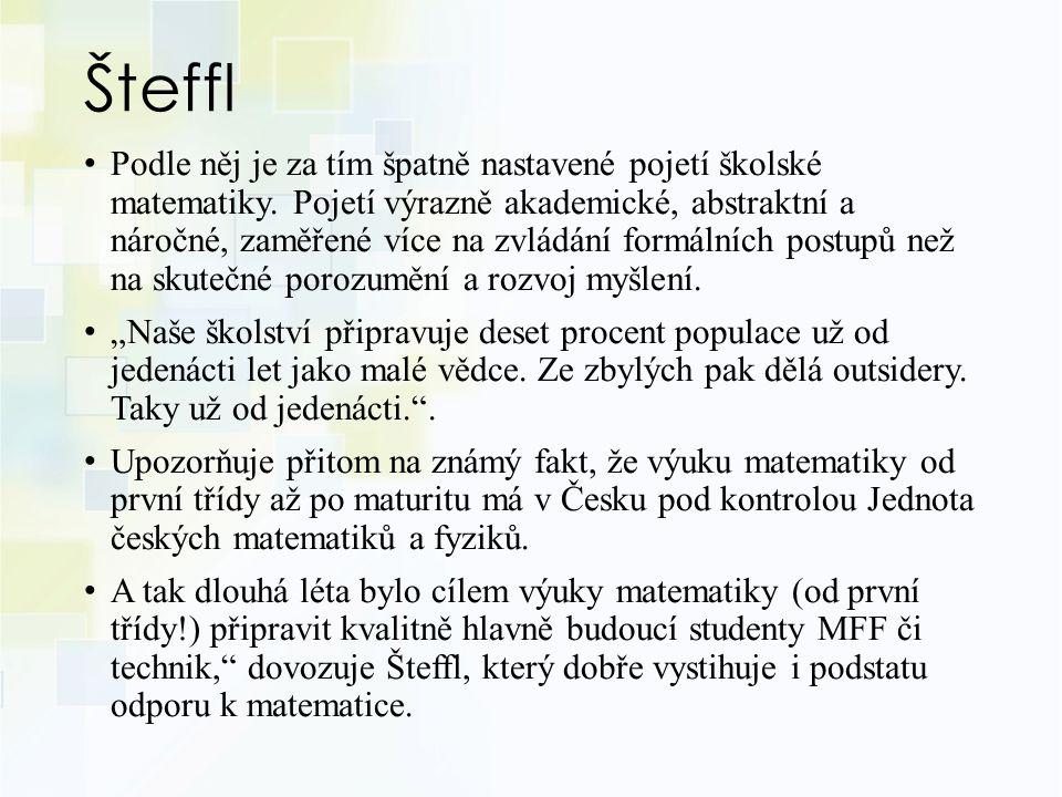 Šteffl Podle něj je za tím špatně nastavené pojetí školské matematiky.