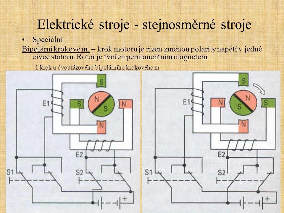 Elektrické stroje - stejnosměrné stroje Speciální Bipolární krokové m. – krok motoru je řízen změnou polarity napětí v jedné cívce statoru. Rotor je t