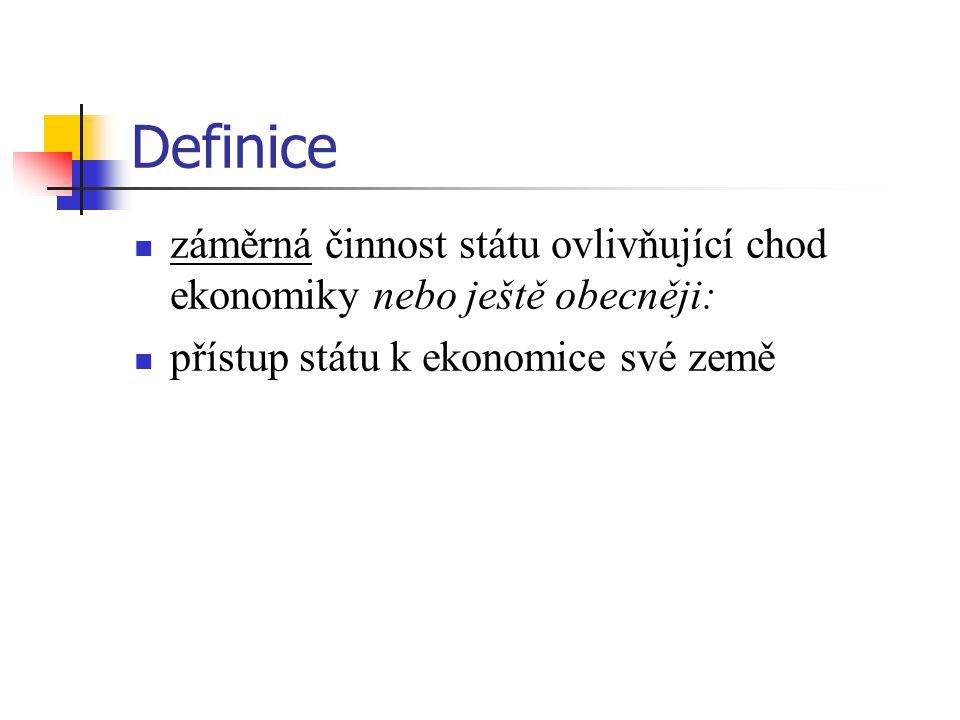 Definice záměrná činnost státu ovlivňující chod ekonomiky nebo ještě obecněji: přístup státu k ekonomice své země