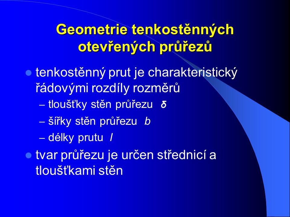 Geometrie tenkostěnných otevřených průřezů tenkostěnný prut je charakteristický řádovými rozdíly rozměrů – tloušťky stěn průřezu δ – šířky stěn průřez