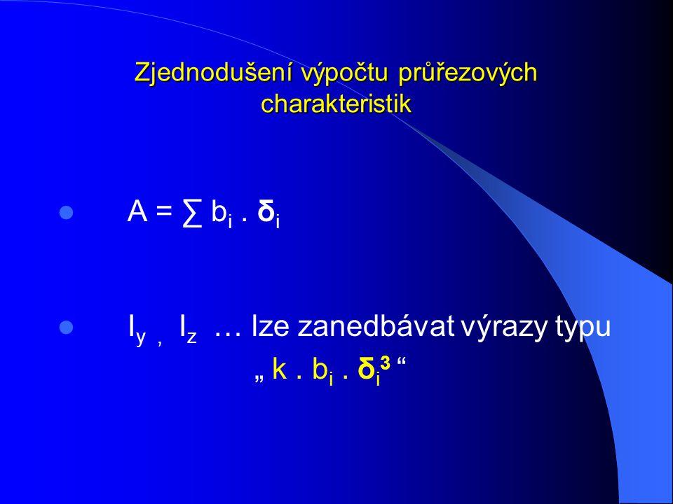 """Zjednodušení výpočtu průřezových charakteristik A = ∑ b i. δ i I y, I z … lze zanedbávat výrazy typu """" k. b i. δ i 3 """""""