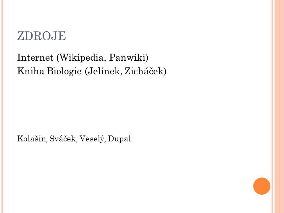 ZDROJE Internet (Wikipedia, Panwiki) Kniha Biologie (Jelínek, Zicháček) Kolašín, Sváček, Veselý, Dupal