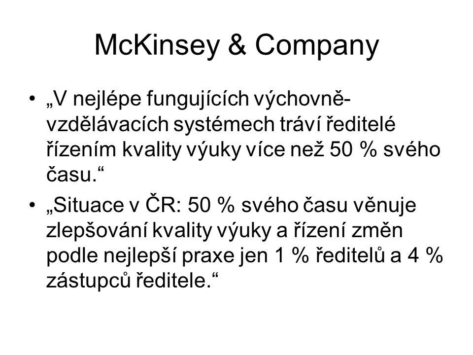 """McKinsey & Company """"V nejlépe fungujících výchovně- vzdělávacích systémech tráví ředitelé řízením kvality výuky více než 50 % svého času."""" """"Situace v"""