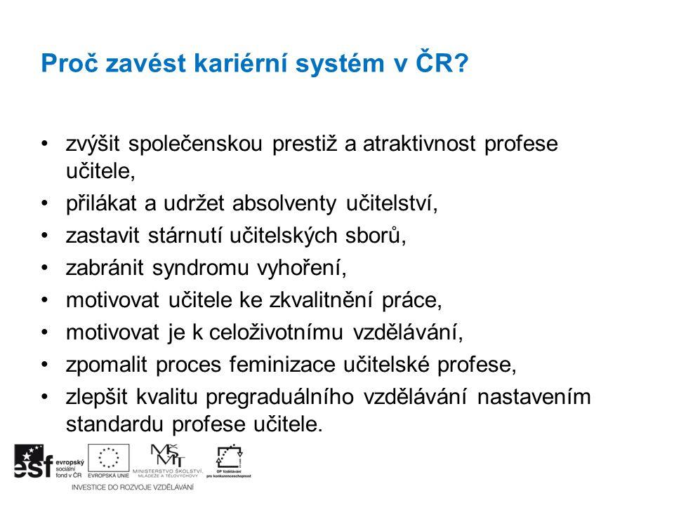 Proč zavést kariérní systém v ČR? zvýšit společenskou prestiž a atraktivnost profese učitele, přilákat a udržet absolventy učitelství, zastavit stárnu