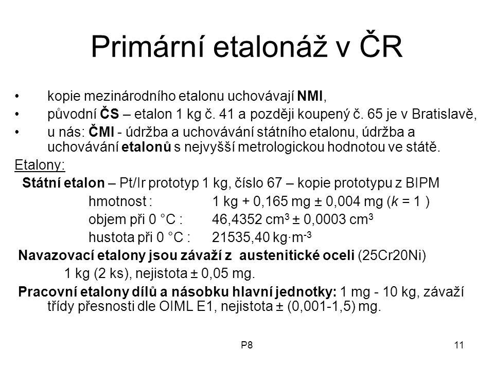 P811 Primární etalonáž v ČR kopie mezinárodního etalonu uchovávají NMI, původní ČS – etalon 1 kg č.